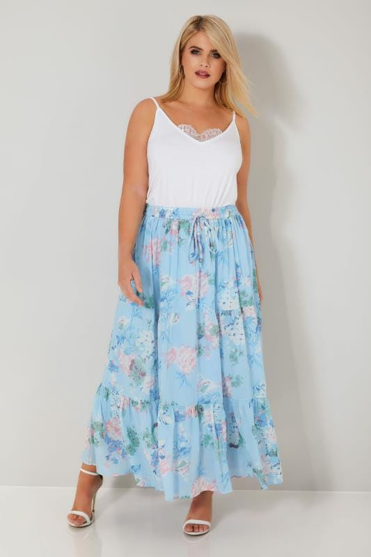 Pastel Blue & Multi Floral Print Tiered Maxi Skirt