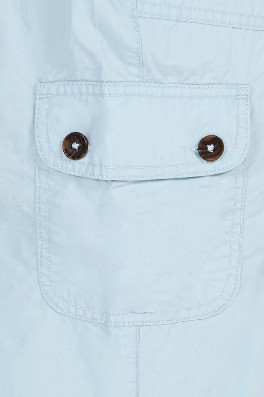 Pastel Blue Poplin Cropped Trousers