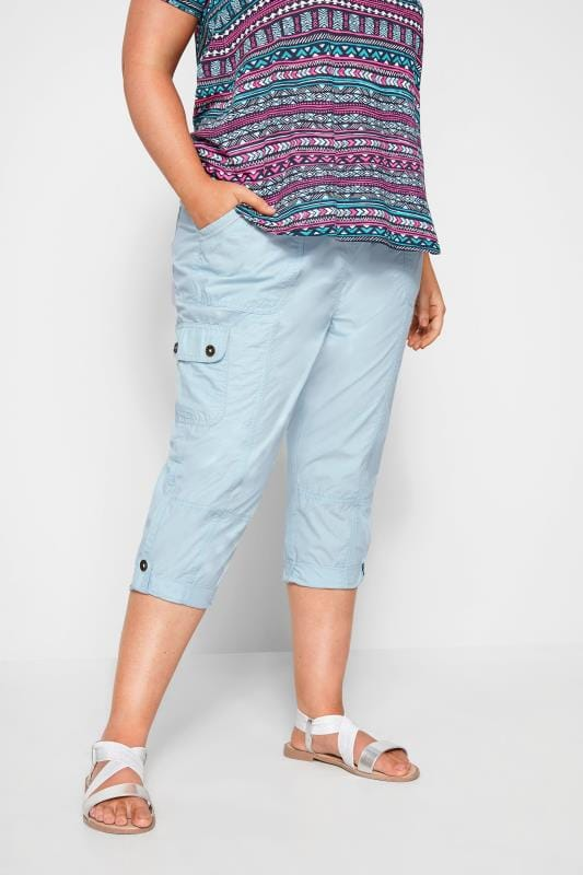 Plus Size Cropped Trousers Pastel Blue Poplin Cropped Trousers