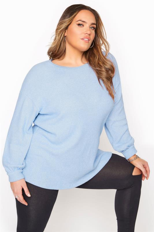 Pastel Blue Soft Touch Rib Top