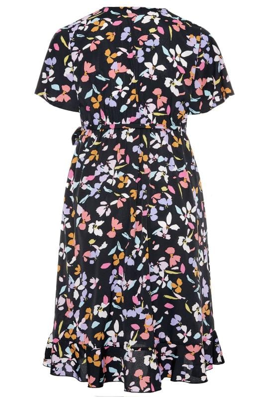 YOURS LONDON Black Floral Wrap Dress