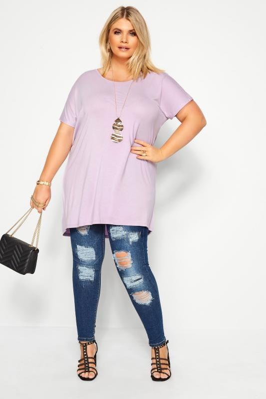 Pastel Lilac Dipped Hem Top