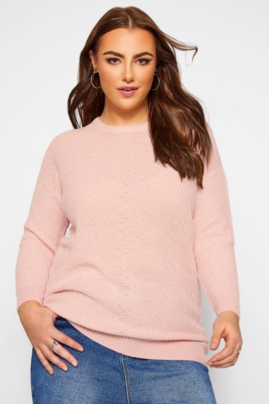 Długi sweter, pastelowy róż