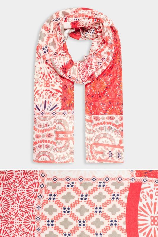 Yours Red Mixed Patchwork Print Scarf