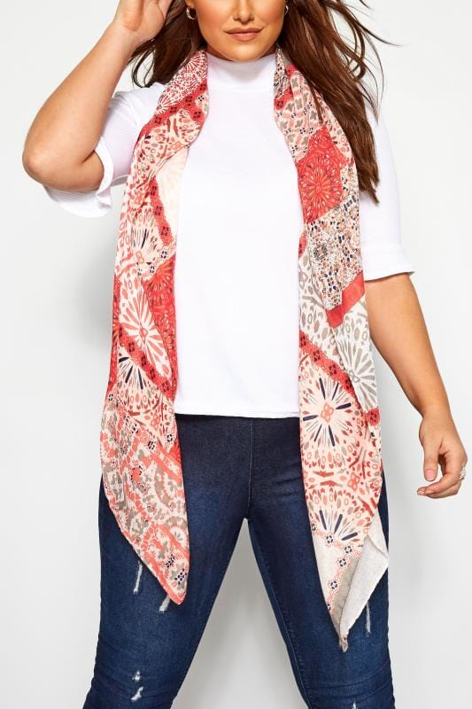 Plus Size Scarves Red Mixed Patchwork Print Scarf