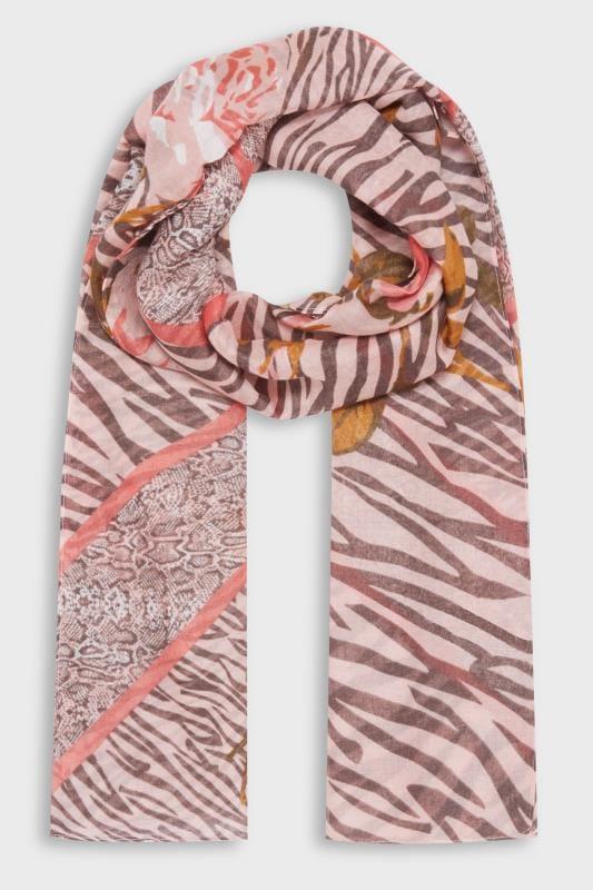 Blush Pink Mixed Animal & Floral Print Scarf