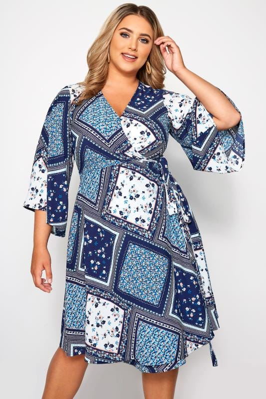 YOURS LONDON Blue Floral Patchwork Wrap Dress
