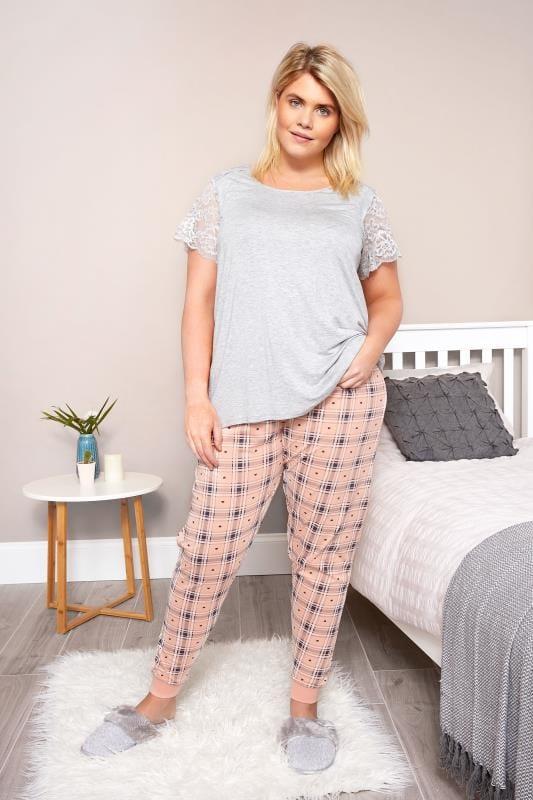 Peach Check & Heart Print Pyjama Bottoms