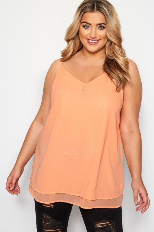 Plus Size Vests & Camis Peach Double Layered Button Cami