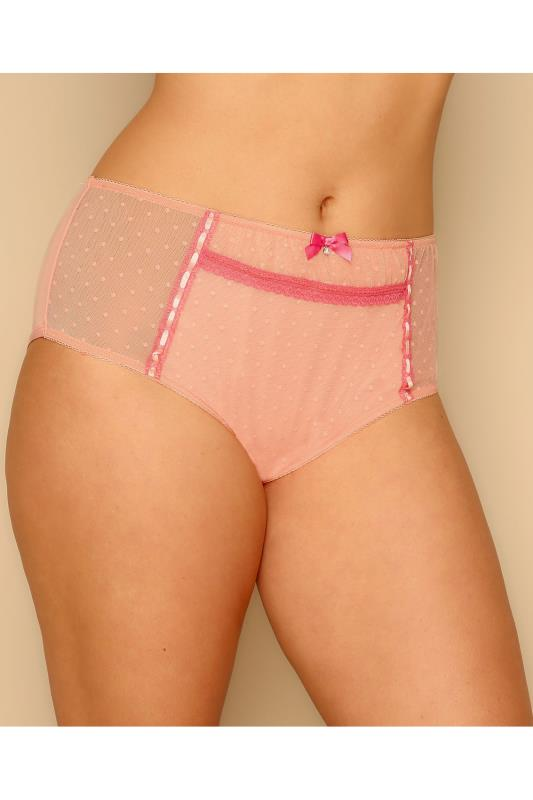 Peach Spotted Mesh Briefs With Ribbon Detail