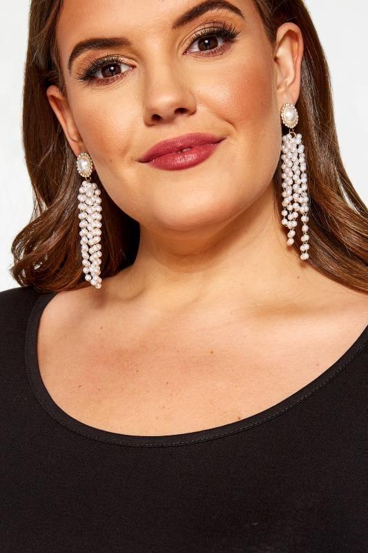 Plus Size Earrings Gold Pearl Tassel Earrings