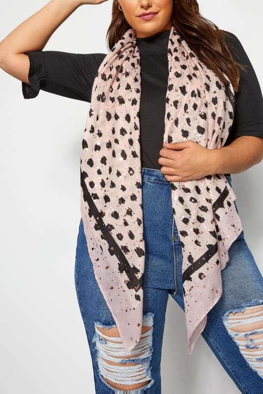 Plus Size Scarves Pink Animal Print Foil Scarf