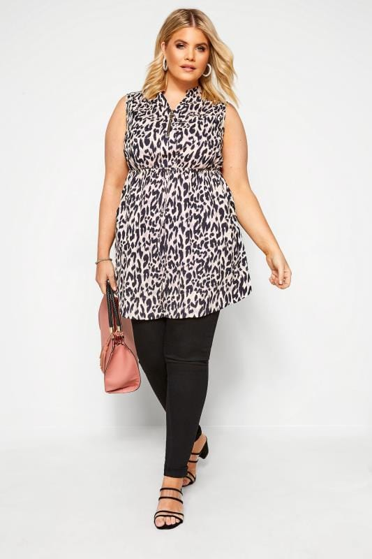 Plus Size Tunics Pink Animal Zip Neck Tunic