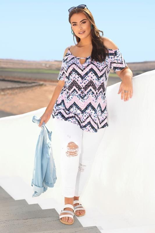 Plus-Größen Jersey Tops Pink Aztec Strappy Cold Shoulder Top