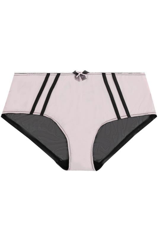 Pink & Black Striped Mesh Briefs