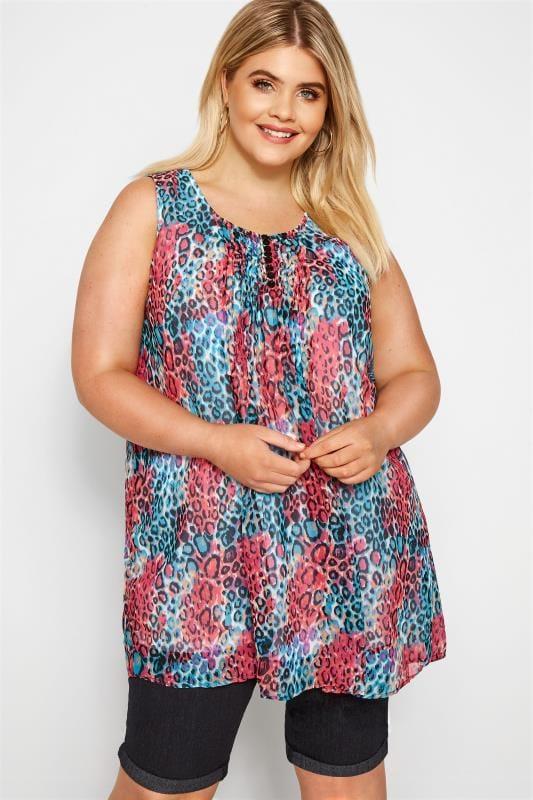 Plus Size Chiffon Blouses Pink & Blue Animal Print Chiffon Vest Top