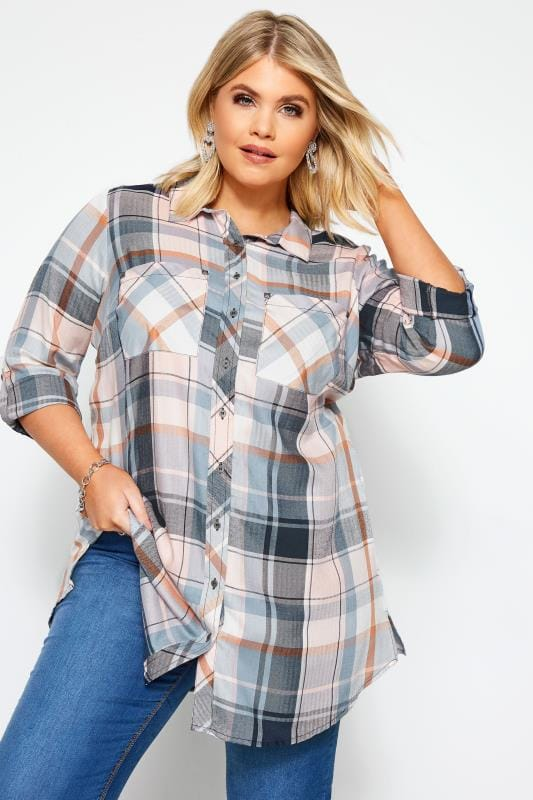 Plus Size Shirts Pink & Blue Check Studded Boyfriend Shirt