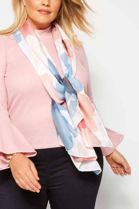 Plus Size Scarves Pink & Blue Floral Scarf