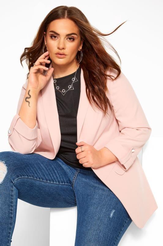 Plus Size Blazers Pink Boyfriend Blazer Jacket