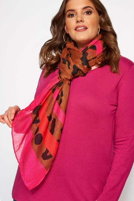 Plus Size Scarves Pink & Brown Leopard Print Stripe Scarf