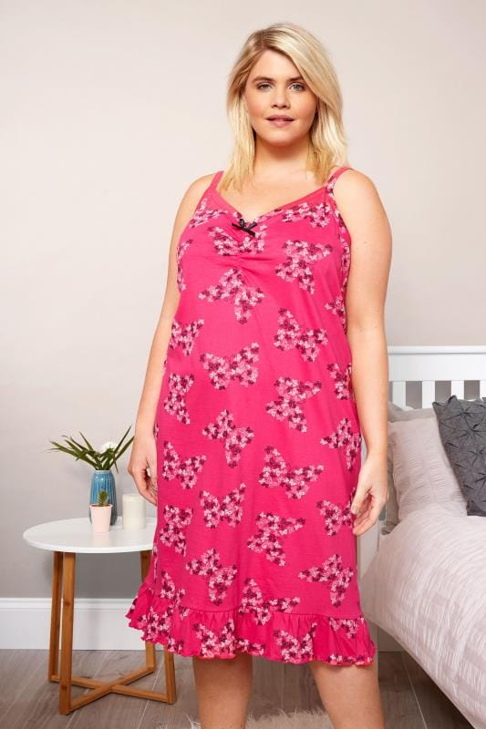 Plus Size Nighties Pink Butterfly Chemise