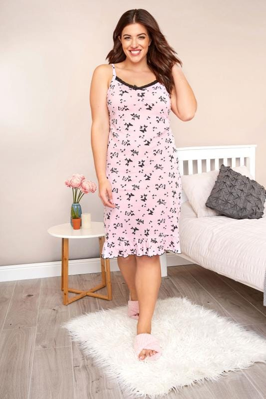 Plus Size Nighties Pink Butterfly Lace Chemise