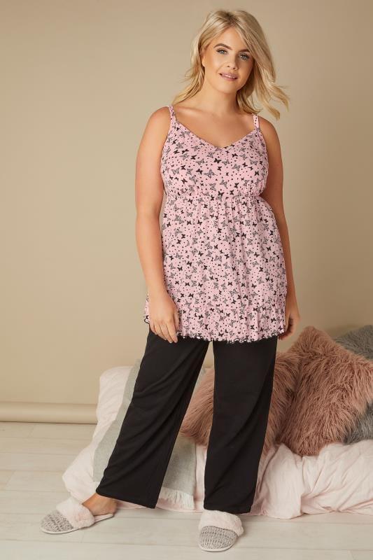 Roze pyjama top met vlinderprint