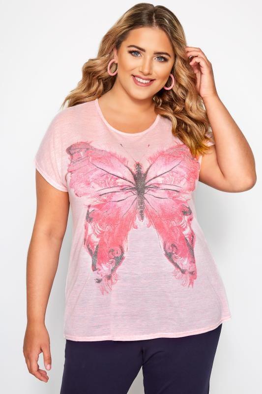 Pink Butterfly Print T-Shirt