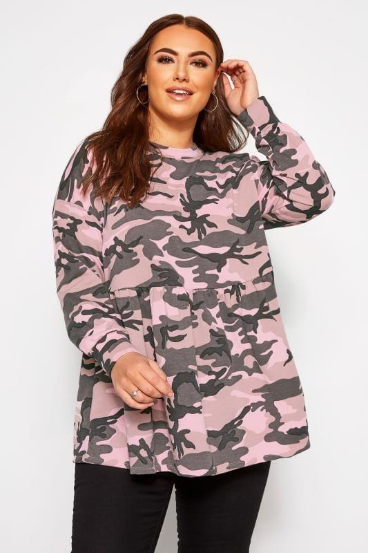 Plus Size Sweatshirts & Hoodies Pink Camo Peplum Sweatshirt