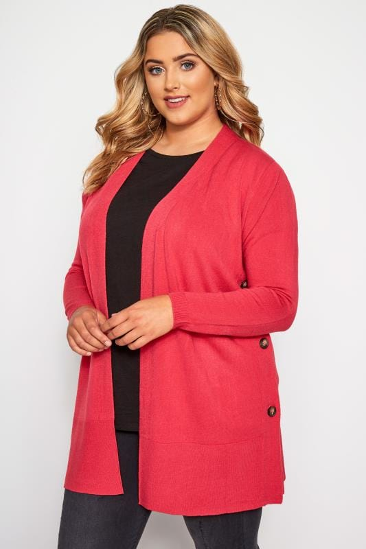 Plus Size Knitted Cardigans Pink Cashmilon Button Side Cardigan