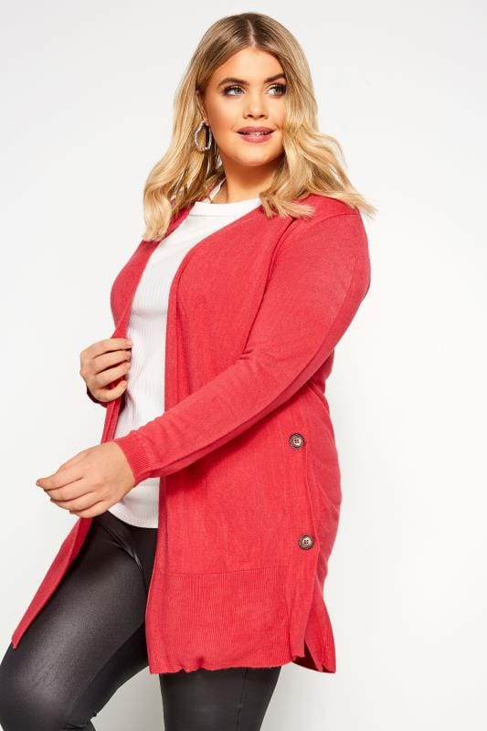 Pink Cashmilon Button Side Cardigan