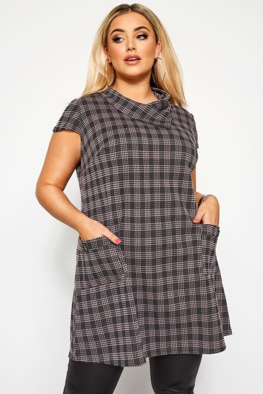 Plus Size Tunics Pink Check Cowl Neck Tunic Dress