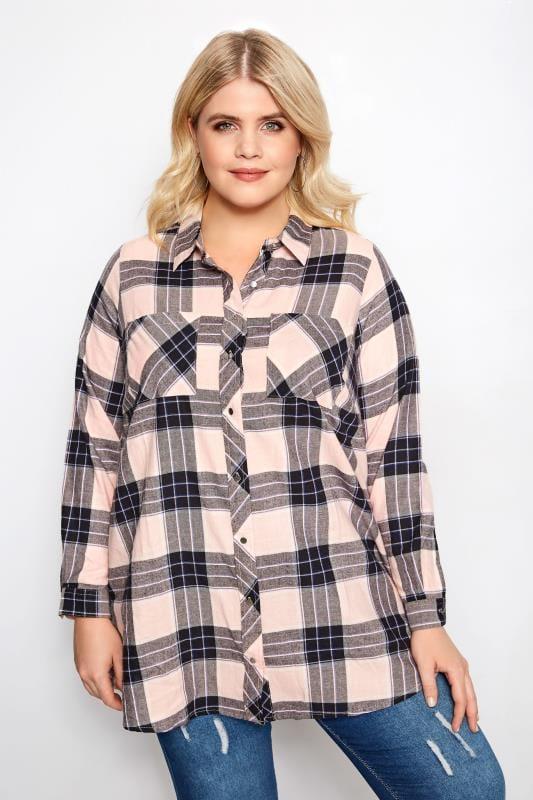 Plus Size Shirts Pink Check Shirt