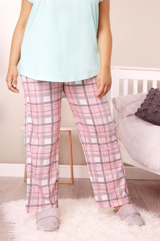 Plus Size Pyjamas Pink Checked Pyjama Bottoms