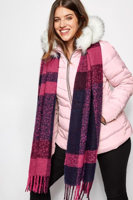 Pink Checked Scarf