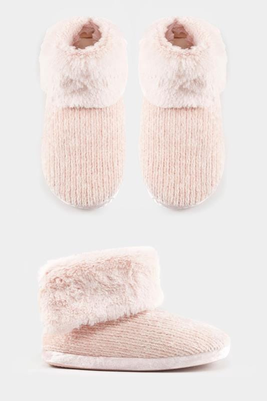 Pink Chenille Knit Slipper Boot
