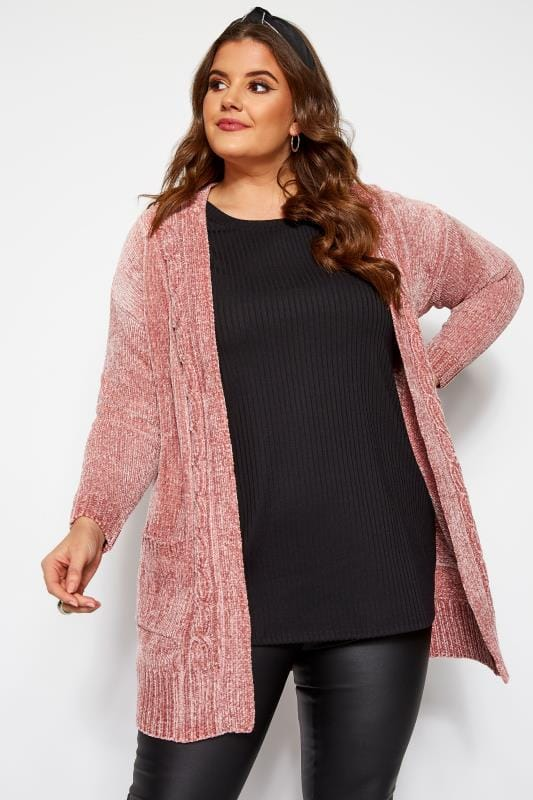 Plus Size Cardigans Pink Chenille Knitted Cardigan