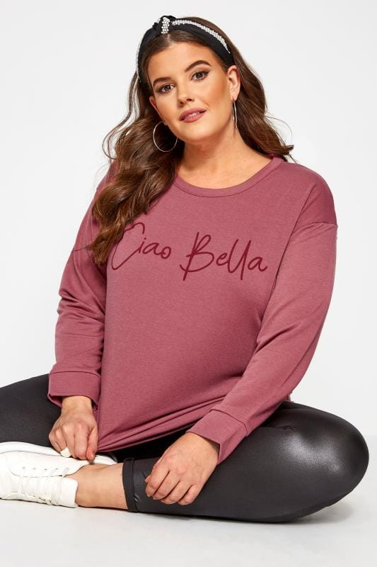 "Sweatshirt mit ""Ciao Bella"" Schriftzug - Dunkelrosa"