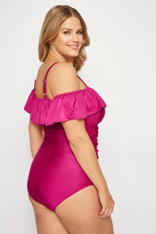 Pink Cold Shoulder Swimsuit With Frill Detail