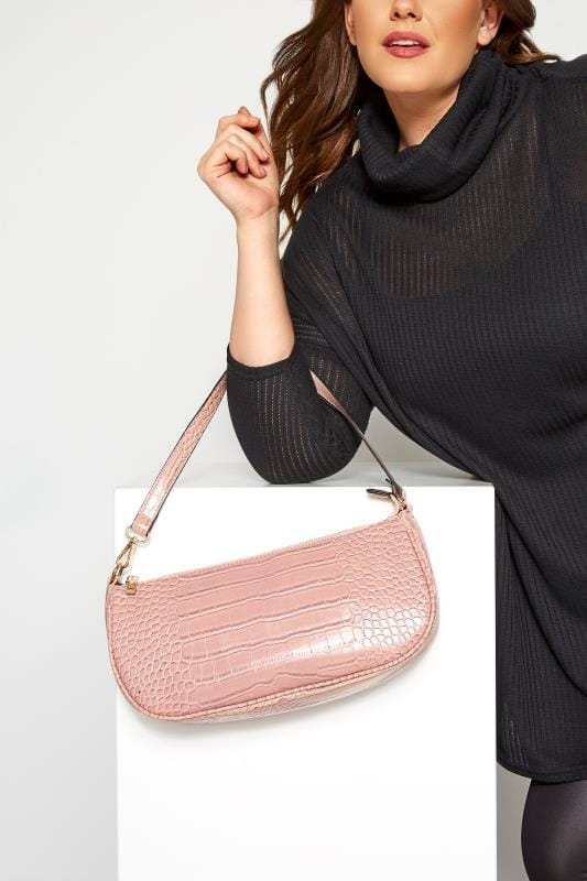 Bags & Purses Pink Croc Shoulder Bag