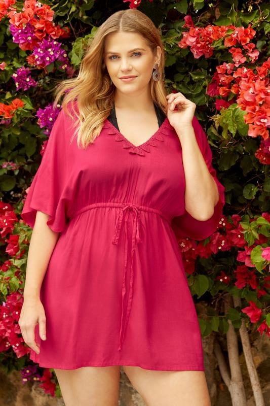 Plus Size Kaftans & Cover Ups Pink Crochet Kaftan