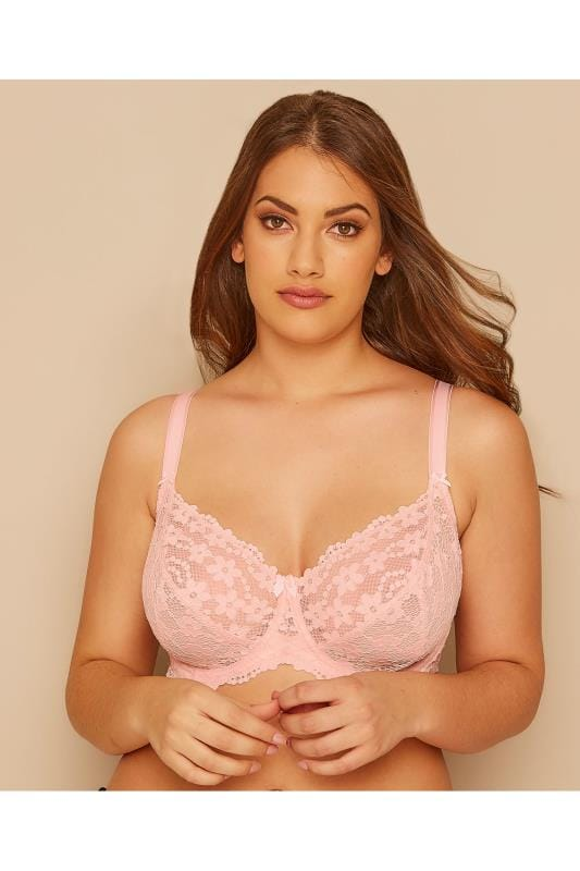 Pink Daisy Lace Underwired Non-Padded Bra