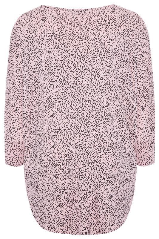 Pink Dalmatian Print Extreme Dipped Top