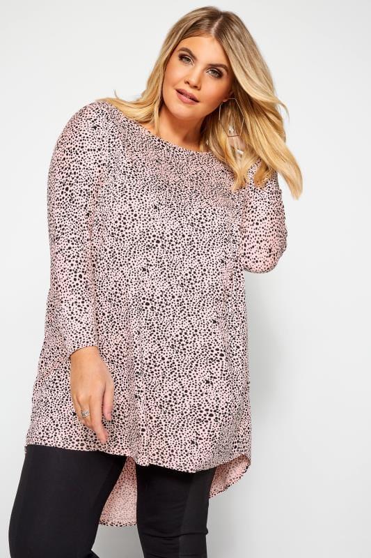 Plus Size Dipped Hem Tops Pink Dalmatian Print Extreme Dipped Top
