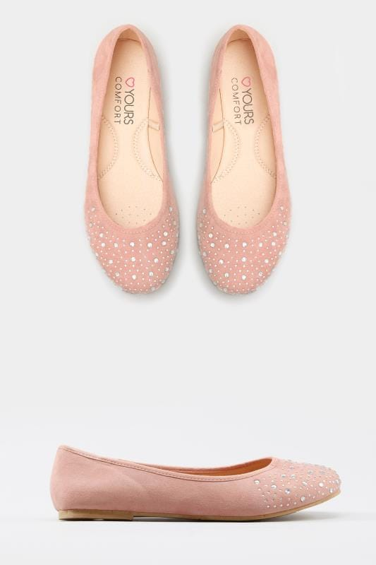 quality and quantity assured Clearance sale outlet store sale Pink Diamante Ballerina Pumps In Extra Wide Fit | Yours Clothing