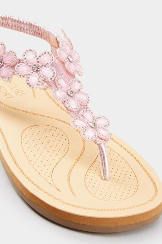 Pink Diamante Flower Sandals In Extra Wide Fit