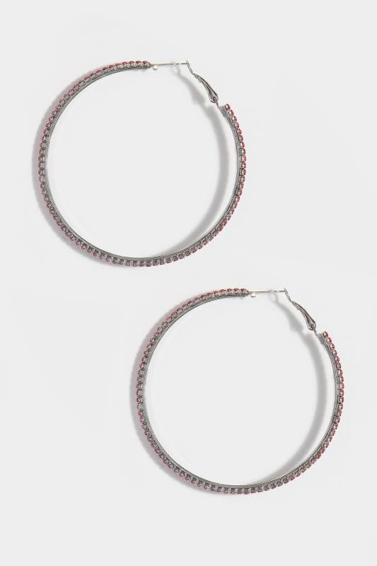 Plus Size Jewellery Pink Diamante Hoop Earrings