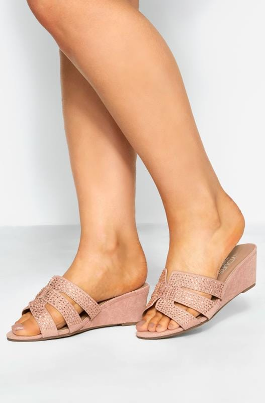 Wide Fit Wedges Pink Diamante Wedge Mules In Extra Wide Fit