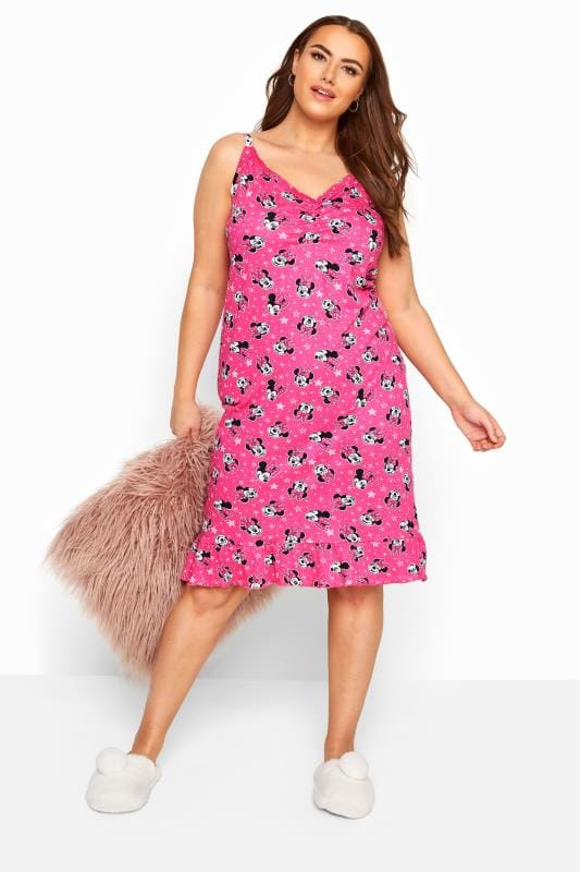 Plus Size Nightdresses & Chemises Pink Disney Minnie Mouse Chemise