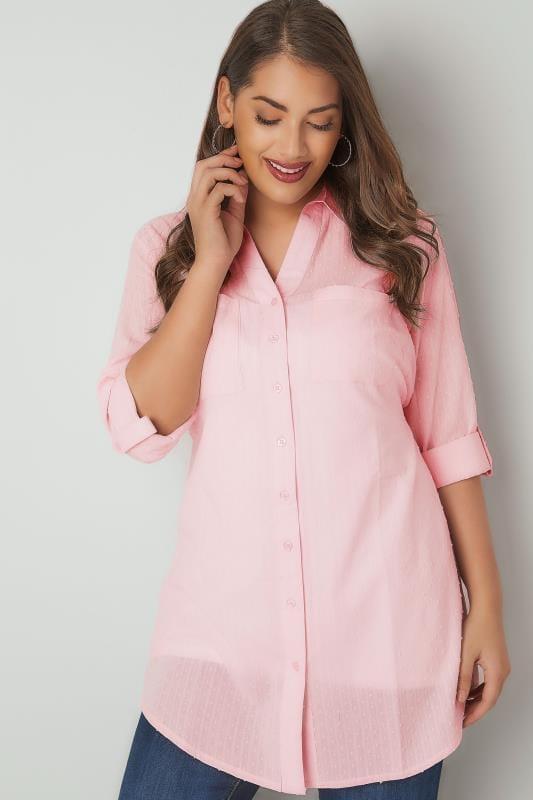 Rosa Hemd mit Taillenschnürung und Dobby-Textur
